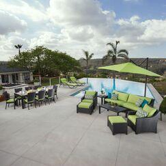 Northridge 20 Piece Rattan Sunbrella Complete Patio Set with Cushions Fabric: Gingko Green