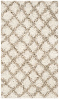 Knoxville Shag Beige/Ivory Area Rug Rug Size: Rectangle 3' x 5'