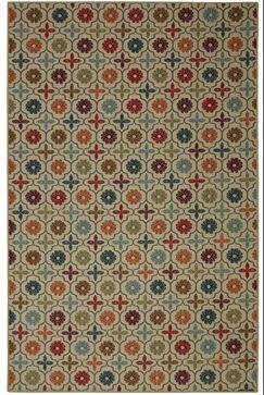 Harewood Nadine Celine Tile Tan/Blue Area Rug Rug Size: Rectangle 5' x 7'