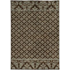 Alicia Floral Brown/Blue Area Rug Rug Size: Rectangle 6'7