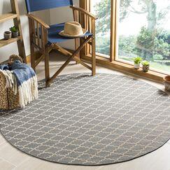 Bexton Anthracite/Beige Indoor/Outdoor Area Rug Rug Size: Round 5'3
