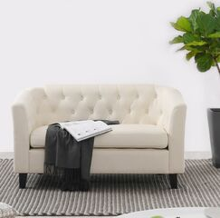 Isaias Chesterfield Loveseat Upholstery: Biege