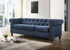 Navin Chesterfield Sofa Upholstery: Blue