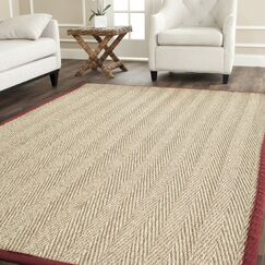 Eldert Natural Fiber Hand-Woven Brown/Tan/Red Area Rug Rug Size: Rectangle 9' x 12'
