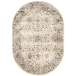 Tuller Stone & Mouse Oriental Ivory Area Rug Rug Size: Oval 5'3