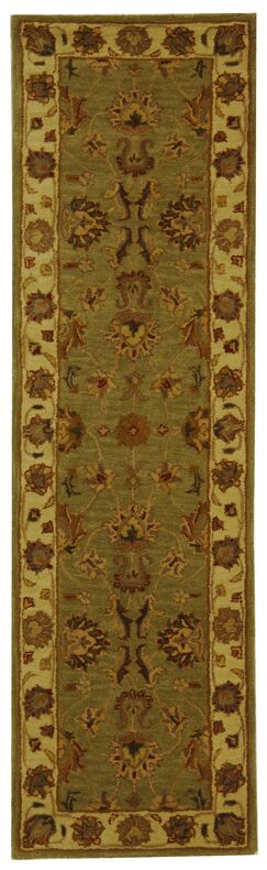 Cranmore Hand-Tufted Wool Green/Gold Area Rug Rug Size: Runner 2'3