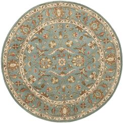 Cranmore Hand-Woven Wool Blue Area Rug Rug Size: Round 4'