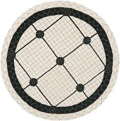 Parish Ivory/Black Geometric Area Rug Rug Size: Round 6'