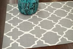 Nesmith Hand-Hooked Gray/Off-White Area Rug Rug Size: Rectangle 3'6