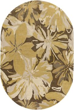 Millwood Gold/Chocolate Floral Area Rug Rug Size: Oval 6' x 9'