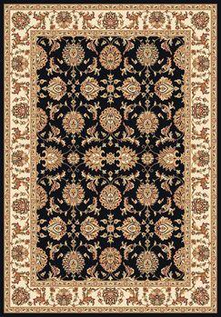 Bellville Kashan Hand-Woven Black/Ivory Area Rug Rug Size: Rectangle 5'3