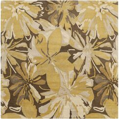 Millwood Gold/Chocolate Floral Area Rug Rug Size: Square 8'
