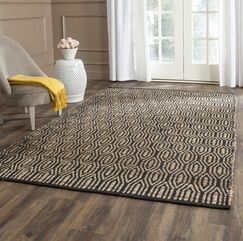 Astor Place Hand-Woven Black/Natural Area Rug Rug Size: Square 6'