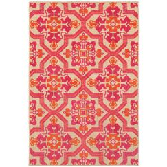Sawin Sand/Pink Indoor/Outdoor Area Rug Size: Rectangle 6'7