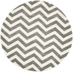 Wilkin Hand-Tufted Wool Dark Gray/Ivory Chevron Area Rug Rug Size: Round 5'
