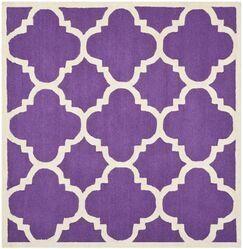 Charlenne Wool Purple/Ivory Area Rug Rug Size: Square 8'