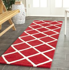 Wilkin Hand-Tufted Red/Ivory Area Rug Rug Size: Runner 2'3