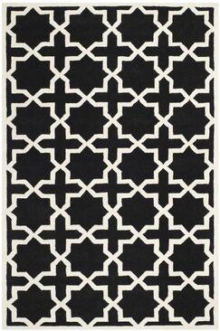 Wilkin Black & Ivory Area Rug Rug Size: Rectangle 8'9