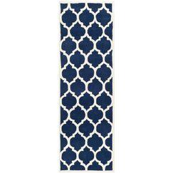 Wilkin Hand-Tufted Dark Blue/Ivory Area Rug Rug Size: Runner 2'3