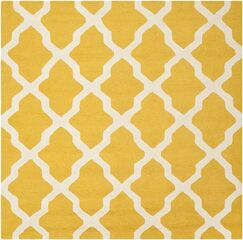 Charlenne Tufted/Hooked Wool Gold & Ivory Indoor Area Rug Rug Size: Square 6'