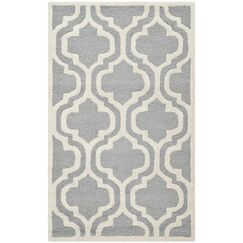 Martins Silver / Ivory Area Rug Rug Size: Rectangle 2'6