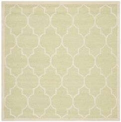 Charlenne Hand-Tufted Wool Light Green/Ivory Area Rug Rug Size: Square 6'