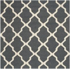 Charlenne Wool Dark Gray/Ivory Area Rug Rug Size: Square 8'