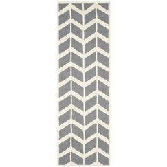 Martins Hand-Woven Wool Dark Gray Area Rug Rug Size: Runner 2'6