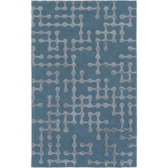 Serpentis Hand-Hooked Bright Blue/Sage Area Rug Rug Size: Rectangle 12' x 15'