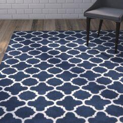 Wilkin Circle Dark Blue & Ivory Area Rug Rug Size: Rectangle 10' x 14'