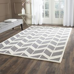 Martins Hand-Woven Wool Dark Gray Area Rug Rug Size: Rectangle 6' x 9'