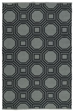 Littleton Gray/Black Indoor/Outdoor Area Rug Rug Size: Rectangle 8' x 10'