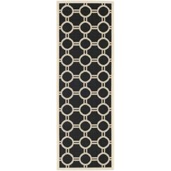 Jefferson Place Black/Beige Outdoor Rug Rug Size: Rectangle 2'7