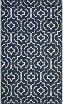 Rennie Hand-Woven Navy/Ivory Area Rug Rug Size: Rectangle 4' x 6'