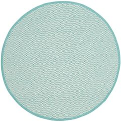 Sessums Hand-Woven Ivory/Aqua Area Rug Rug Size: Round 4'
