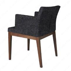 Pettiford Wood Armchair Upholstery: Dark Gray, Finish: Walnut