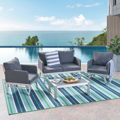 Oakhill Outdoor 4 Piece Seating Group with Cushions Cushion Color: Dark Gray
