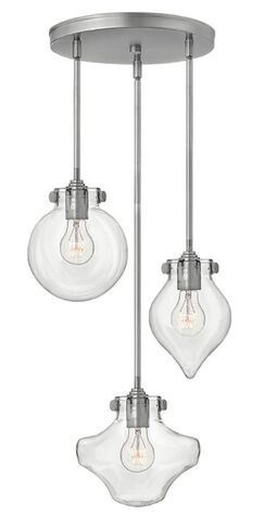 Congress 3 Light Pendant Finish: Antique Nickel, Shade Color: Clear Seedy