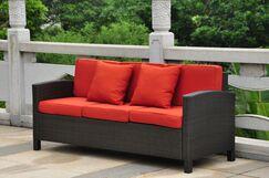 Katzer Sofa with Cushions Finish: Black Antique / Red