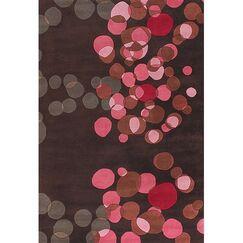 Osteen Brown/Pink Area Rug Rug Size: Round 7'9