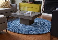 Banner Hand-Tufted Blue Area Rug Rug Size: Round 8'