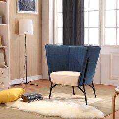 Seidel Barrel Chair Upholstery: Blue / Beige