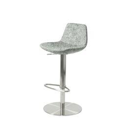 Shinn Piston Adjustable Swivel Height Bar Stool Seat Color: Orange Organic Wool, Leg Color: Stainless Steel