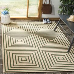Shantell Cream/Green Area Rug Rug Size: Square 6'7