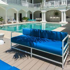 Ashlee Sofa with Cushions Fabric: Sunbrella Pacific Blue
