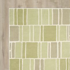 Blocks Hand-Loomed Green / Ivory Area Rug Rug Size: Runner 2'3
