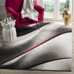 Anne Gray/True Red Area Rug Rug Size: Rectangle 5'3