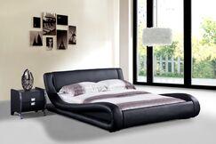Melrose Upholstered Platform Bed Color: Black, Size: King