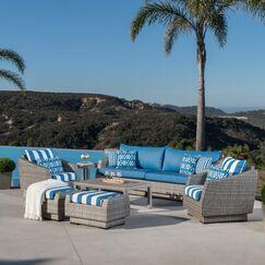 Castelli 8 Piece Rattan Sofa Seating Group with Cushions Fabric: Regatta Blue