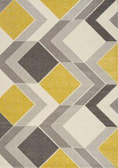 Wesley Cube Gray/Yellow Area Rug Rug Size: 7'10
